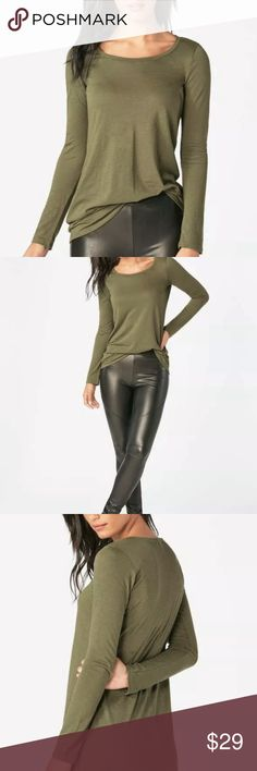 Just Fab dark olive layering tunic A basic long sleeve tunic top with a scoop neck. Wear year-round for effortless style. Details: Fabric type: 25% Modal, 25% Supima, 24% Polyester, 26% Cotton Machine wash L 8-10 JustFab Tops Tunics