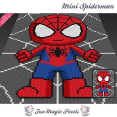 Mini Spiderman inspired crochet blanket pattern; knitting, cross stitch graph…