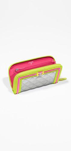 Zipped wallet, fabric, mesh & resin-light gray, yellow & pink - CHANEL