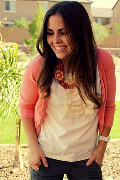 Love the shirt, necklace, and cardigan!