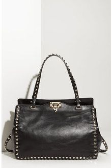 Valentino Rock Stud Leather Handbag in Black | Lyst