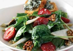 Amateur Cook Professional Eater - Greek recipes cooked again and again: Spinach salad with fresh fruits, walnuts and cheese Greek Recipes, Vegan Recipes, Cooking Recipes, Vegan Meals, Spinach Salad, Caprese Salad, Sonoma Diet, Food Categories, Yams