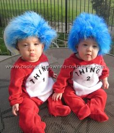 A collection of Thing 1 & Thing 2 costumes from Cat in the Hat.