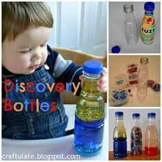 Discovery Bottles - Oil + glitter (suspends in oil) + blue water