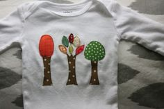 Autumn Leaves Long Sleeve Applique Onesie