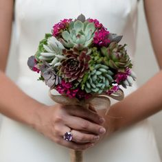 "Once you see a bouquet of succulents it's easy to say """"I do"""". Whether it's all succulents or succulents with mixed flowers it'll be a bouquet to remember. Rustic Bouquet, Diy Wedding Bouquet, Diy Bouquet, Floral Wedding, Wedding Flowers, Wedding Dresses, Succulent Boutonniere, Succulent Bouquet, Boutonnieres"