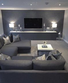 Classy Living Room, Living Room Decor Cozy, Living Room Grey, Living Room Interior, Home Living Room, Apartment Living, Home Cinema Room, Home Theater Rooms, Home Room Design