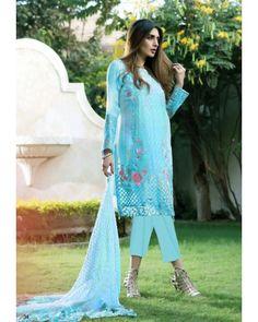 Sky Blue Georgette Straight Cut Salwar