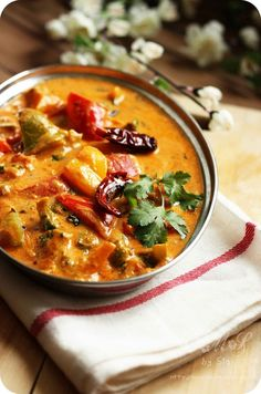 Learn how to make Creamy Tofu and Pepper Curry ~ Vegan curry of capsicums/bell peppers cooked in a mildly spiced creamy tofu and tomato . Tofu Recipes, Indian Food Recipes, Asian Recipes, Vegetarian Recipes, Cooking Recipes, Healthy Recipes, Macrobiotic Recipes, Vegan Curry, Tofu Curry