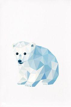 Polar Bear Cub, Geometric illustration, Animal print, Original illustration by rosemary