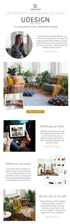 URBANARA newsletter template for interior design service. Follows us for tips and inspiration for your home decor, interior or fashion newsletters.