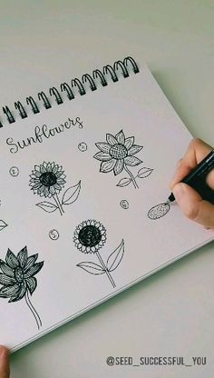 Seks forskjellige måter å tegne en solsikke på i Bullet Journal Aesthetic, Bullet Journal Notebook, Bullet Journal Ideas Pages, Bullet Journal Inspiration, Doodle Inspiration, Doodle Art, Drawings, Inspiring Art, How To Draw Sunflowers
