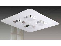 6700/4CB Plafón de techo en cromo y blanco mate. Tecnología LED. Luz blanco cálido. Potencia 4X5W. 6700/4CB BLANCO+CROMO/WHITE+CHROME LED 5W*4 INCL. L45CM x L45CM x H5.5CM