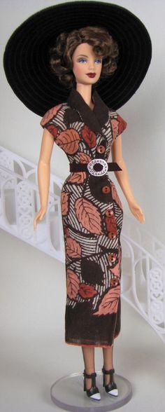 OOAK Barbie dress made from vintage hankie by Sylvia Bittner