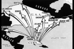 From Cuba the arrows represent the major cities in the U.S. that are targets for the USSR missiles.