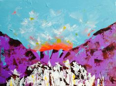 Mountains at dawn painting by Anna Gibbs