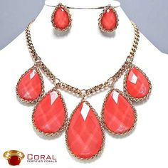 This glamorous coral necklace with earrings will enhance your beauty to next level.