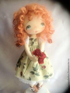 Девочка Солнышко - рыжий,интерьерная кукла,текстильная кукла,кукла ручной работы