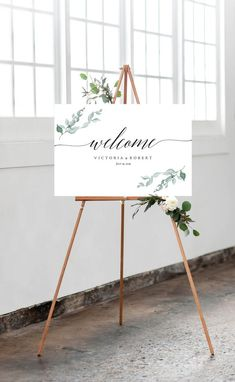 SALE!!! - Welcome to Our Wedding Sign Eucalyptus Wedding Welcome Sign Printable Eucalyptus Greenery Leaf Boho Watercolor Wedding DIY PDF by JessicaMichaelPrints