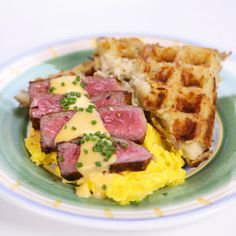 Steak Eggs with Hash Brown Waffles