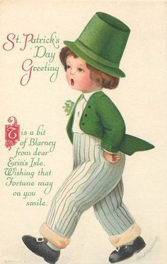 St. Patrick's Day Greeting ~ 'Tis a bit of Blarney from dear Erin's Isle, Wishing that Fortune may on you smile. ╰♣╮(vintage card, St. Paddy's, Irish, Ireland, holiday)