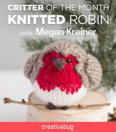 Learn how to knit this adorable English robin, complete with a cherubic little body, wings, tail, and pointy beak.