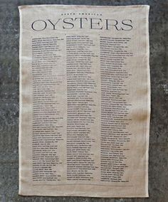 Sir Madam Oysters List Tea Towel
