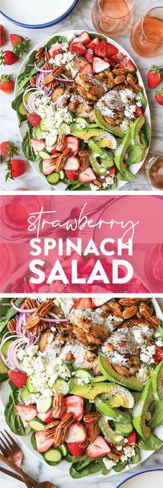 Strawberry Spinach Salad - Damn Delicious Spinach Strawberry Salad, Spinach Salad, Spinach And Cheese, Baby Spinach, Damn Delicious Recipes, Healthy Recipes, Healthy Meals, Salad Bar, Soup And Salad