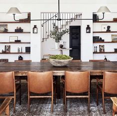 Architectural Digest, Table Design, Dining Room Design, Design Kitchen, Chair Design, Leather Dining Room Chairs, Leather Chairs, Kitchen Chairs, Lounge Chairs