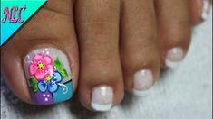 Cute Pedicure Designs, Flower Nail Designs, Colorful Nail Designs, Toe Nail Designs, French Nails, Summer Toe Designs, Diy Acrylic Nails, New Nail Art Design, Magic Nails
