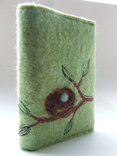 Nest book cover - needle felted. I love journaling ideas! Love this.