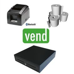 Vend POS Hardware Bundle with Star TSP654II Bluetooth Receipt Printer is a perfect wireless solution for Vend POS Software.   The Bundle Includes:  1 x Star TSP654II Bluetooth Thermal Receipt Printer  1 x Cash Drawer with 5 Notes & 8 Coin Sections  1 x Box 80x80 Thermal Paper Rolls (24Qty) Ipad Stand, Printer, Pc, Bluetooth, Software, Point Of Sale, Xbox, Drawer, Rolls