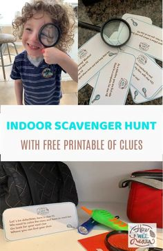 Cure your kids' boredom with a scavenger hunt! This is such a fun indoor scavenger hunt idea for kids and is as easy as can be because there are free printable clues for you to use! Print off these clues, hide them around the house, and let your little detective solve the mystery!