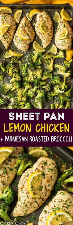 Sheet Pan Lemon Chicken with Parmesan Roasted Broccoli - Cooking Classy (Lemon Chicken Meals) Healthy Meal Prep, Healthy Eating, Healthy Recipes, Meal Prep Low Carb, Heart Healthy Meals, Paleo Food, Delicious Recipes, One Pot Meals, Easy Meals