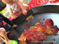 """Sensory Play with Jelly - I would love to do this.... I would also love to have a tray like this """"tuff spot"""" it's called."""