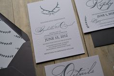 Rustic Letterpress Wedding Invitations on Wood Grain Paper