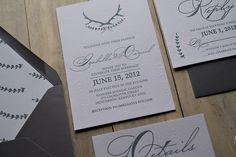 Rustic Letterpress Wedding Invitations on Wood Grain Paper