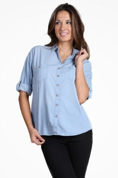 Women's Button down denim top with pocket detailing and button tab at rolled sleeves High Style. $25.00