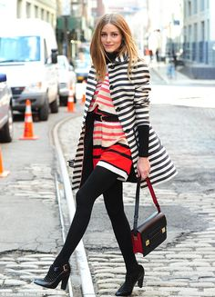 Who said you couldn't pair stripes on top of stripes? Olivia Palermo does it right. #fashion