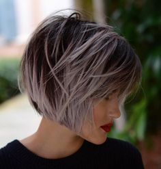 60 Short Shag Hairstyles That You Simply Can't Miss Pastel Purple Balayage Bob Purple Balayage, Balayage Bob, Purple Grey Hair, Pastel Purple, Purple Ombre, Purple Pixie, Short Shag Hairstyles, Cool Hairstyles, Hairstyle Ideas