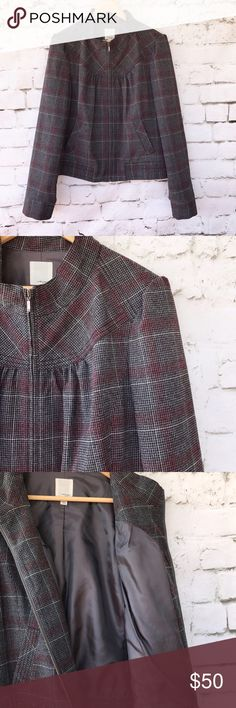 Halogen Zip Up Grey & Maroon Plaid Jacket This item is used however it has no known flaws, rips or stains.  Please see pictures for material and measurements.  Welcome to make an offer unless item says firm in title. Halogen Jackets & Coats