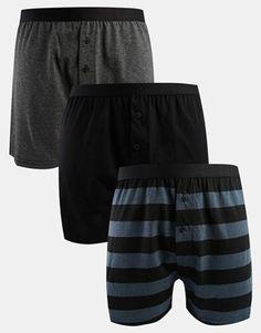 ASOS 3 Pack Jersey Boxer with Horizontal Stripe Print