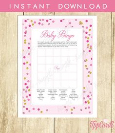 Pink and Gold Baby Shower Bingo Cards Printable - Pre-filled Bingo Cards - Digital Instant Download - Glitter Polka Dot by TppCardS #tppcards