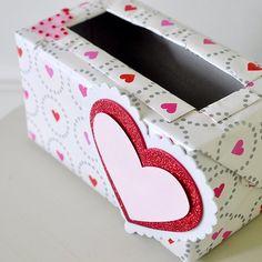 Make a quick Valentine's Mailbox using an empty tissue box.
