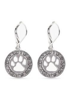 PET FRIENDS  Silver-Tone Crystal Paw Print Drop Earrings