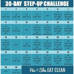 30 Day Step Up Challenge Workout Plan For Beginners, Workout Plan For Women, Step Up Workout, Workout Plans, Workout Tips, Woman Workout, Workout Exercises, Workout Routines, Workout Gear