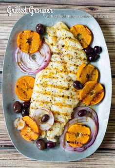 Grilled Grouper with Grilled Oranges Onions and Olives