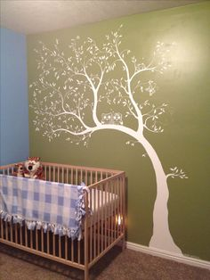 So I painted this on my grandson's nursery wall based on a pin!  I personalized it with an owl family and other tiny animals.