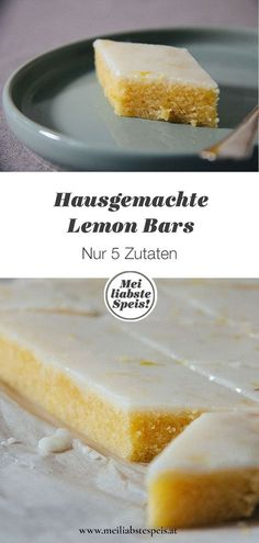 Our Homemade Lemon Bars are incomparably juicy-lemony and in only 40 minutes . - Rezepte - Kuchen & mehr backen - Welcome food web Lemon Desserts, Lemon Recipes, Healthy Dessert Recipes, Greek Recipes, Meat Recipes, Lemon Wedge, Homemade Cake Recipes, Lemon Bars, Food Cakes