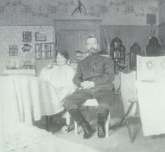 Grand Duchess Marie recovering from measles with her Father Tsar Nicholas II, Tsarskoe Selo during their captivity 1917.